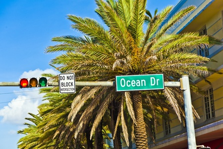 street sign of famous street Ocean Drice in Miami South with traffic light