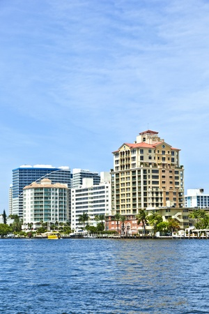 skyline of Fort Lauderdale from the canal