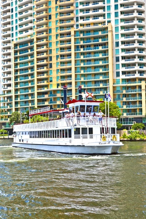 FORT LAUDERDALE, FL- AUG 1: Cruise with Carrie B paddlewheel riverboat  on August 01, 2010 in Fort Lauderdale, Florida. Since 1991, the Carrie B provides sightseeing cruises. Stock Photo - 10868240