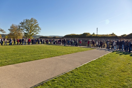 KOBLENZ, GERMANY - OCT 15: Unidentified people queuing up for the BUGA flower show on Oct 15, 2011 in Koblenz, Germany. The BUGA 2011 flower show is one of the largest flower shows in the world. Stock Photo - 10887370