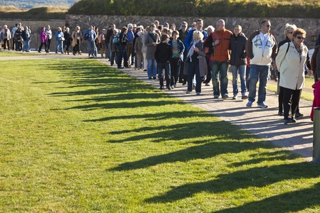 KOBLENZ, GERMANY - OCT 15: Unidentified people queuing up for the BUGA flower show on Oct 15, 2011 in Koblenz, Germany. The BUGA 2011 flower show is one of the largest flower shows in the world.