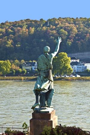 bundesgartenschau: famous sculpture of mayor Joseph Goerres in Koblenz at the river Rhine