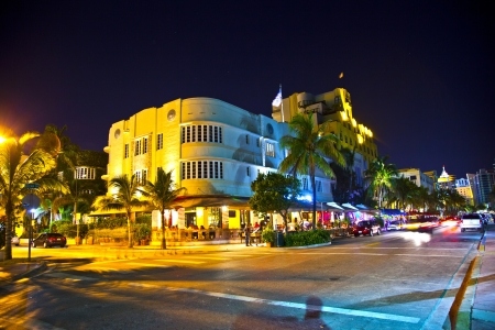 MIAMI BEACH, USA - August 02: Night view at Ocean drive on August 02,2010 in Miami Beach, Florida. Art Deco Night-Life in South Beach is one of the main tourist attractions in Miami. Stock Photo - 10912416
