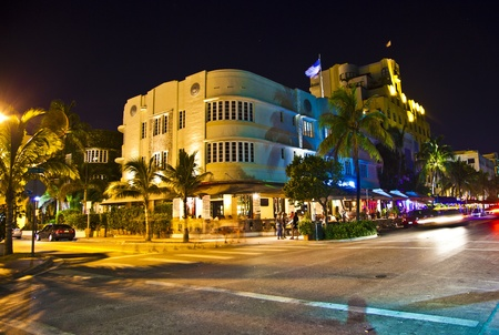 artdeco: MIAMI BEACH, USA - August 02: Night view at Ocean drive on August 02,2010 in Miami Beach, Florida. Art Deco Night-Life in South Beach is one of the main tourist attractions in Miami.