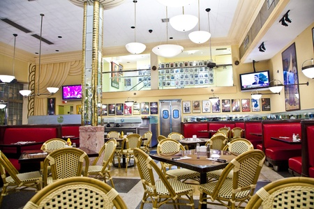 dining table and chairs: MIAMI, USA - August 02: decoration of the fifties inside the famous Jerrys Deli, an old Art Deco Deli in Miami South  on August 02,2010, Miami, USA.
