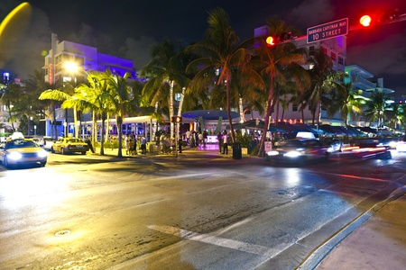 artdeco: MIAMI BEACH, USA - August 02: Night view at Ocean drive on August 02,2010 in Miami Beach, USA. Art Deco Night-Life in South Beach is one of the main tourist attractions in Miami.