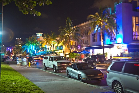 MIAMI BEACH, USA - August 02: Night view at Ocean drive on August 02,2010 in Miami Beach, USA. Art Deco Night-Life in South Beach is one of the main tourist attractions in Miami.