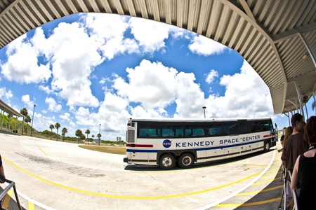 ORLANDO, USA - JULY 25: visitors travel by bus in the Kennedy space center on July 25, 2010 in Orlando, USA. The Center is open for public. Stock Photo - 10950289