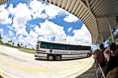 ORLANDO, USA - JULY 25: visitors travel by bus in the Kennedy space center on July 25, 2010 in Orlando, USA. The Center is open for public. Stock Photo - 10950285