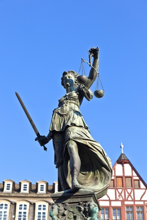 Statue of Lady Justice in front of the Romer in Frankfurt - Germany Stock Photo - 11023879