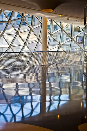glasswork: FRANKFURT, GERMANY - AUGUST 21: glasswork inside the myZeil center on August 21,2010 in Frankfurt, Germany. The modern building by architect Fuksas was inaugurated in 2009. Editorial