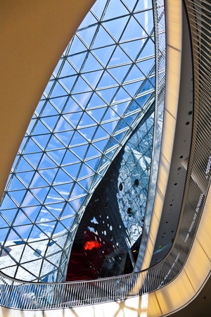 FRANKFURT, GERMANY - AUGUST 21: glasswork inside the myZeil center on August 21,2010 in Frankfurt, Germany. The modern building by architect Fuksas was inaugurated in 2009. Stock Photo - 11109345