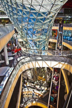 FRANKFURT, GERMANY - AUGUST 21: people inside the myZeil center on August 21,2010 in Frankfurt, Germany. The modern building by architect Fuksas was inaugurated in 2009.