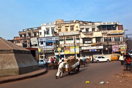 bazar: DELHI, INDIA - NOV 9: street scene in Chawri Bazar, the market area in old Delhi on November 08,2011 in Delhi, India. Established in 1840, with a hardware market, it was the first wholesale market of Old Delhi.