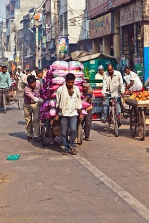 carretilla de mano: DELHI, INDIA - 09 de noviembre: un carrito tirado por gente de la ma�ana a principios de noviembre 08,2011 en Delhi, India. Presione el transporte carro es com�n en las estrechas calles de la Vieja Delhi.