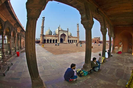 jama mashid: DELHI, INDIA - NOVEMBER 09: View of Jama Masjid on November 11,2011. It is the largest and best-known mosque in India.