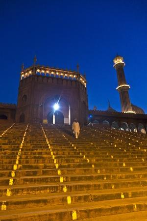 jama mashid: Jama Masjid Mosque by night, old Delhi, India.