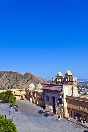 inside the famous Amber Fort in Jaipur, India.