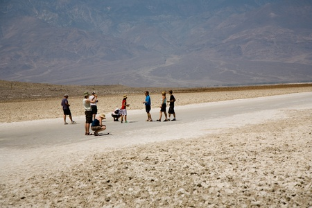 the deepest: DEATH VALLEY, USA - JULY 19: people visit  the area of Badwater in the middle of death valley on July 19, 2008 in Death Valley, USA. It is the deepest point in the US with 85 meter under sea level.