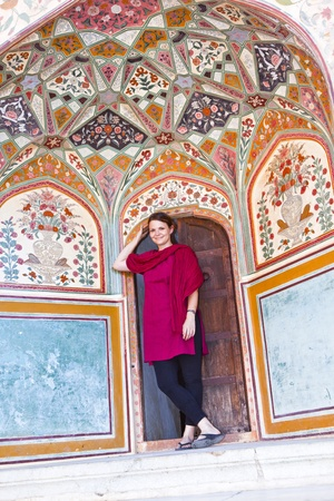 amber fort: beautiful caucasian woman posing in Amber Fort, India Stock Photo
