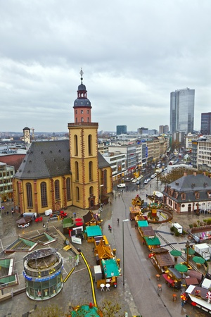 guard house: FRANKFURT - DECEMBER 16: view to skyline of Frankfurt with Hauptwache and skyscraper in rainy weather on DECEMBER 16, 2011 Frankfurt,Germany. The first guard house was inaugurated in 1671.