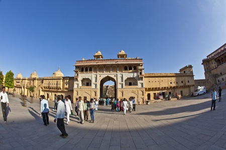 maharaja: JAIPUR, INDIA - NOVEMBER 12: people visit the famous Amer Fort on November 12, 2011 in Jaipur, India. Amer Fort is known for its artistic style, blending both Hindu Rajput elements. Editorial