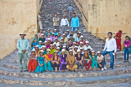 jagmandir: JAIPUR, INDIA - NOVEMBER 12: school class visits the famous Amer Fort on November 12, 2011 in Jaipur, India. Amer Fort is known for its artistic style, blending both Hindu Rajput elements.