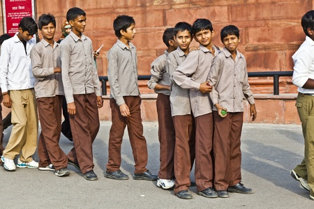 compulsory: DELHI, INDIA - NOVEMBER 9: scholars in uniform visit the Red Fort on November 9,2011 in Delhi, India. Schools uniforms are compulsory in India, from primary to higher-secondary level.