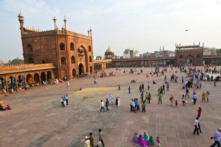 jama mashid: DELHI - NOVEMBER 09: Muslim pilgrims visit the Jama Masjid mosque on November 09, 2011 in Dehli, India. Jama Masjid is the largest mosque in India with millions of visitors each year.
