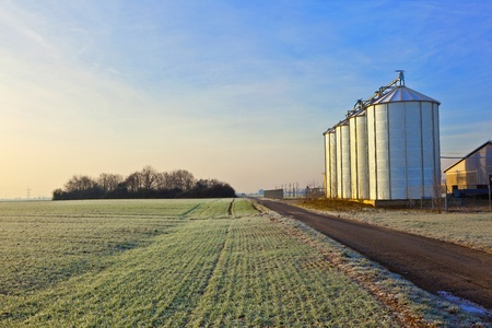 iowa agriculture: silos in the middle of a field in wintertime