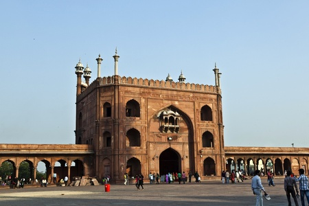 DELHI, INDIA - NOVEMBER 11: worshipers walk on courtyard of Jama Masjid Mosque in Delhi on November 11, 2011. Jama Masjid is the principal mosque of Old Delhi in India. Stock Photo - 12059783