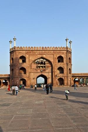 DELHI, INDIA - NOVEMBER 11: worshipers walk on courtyard of Jama Masjid Mosque in Delhi on November 11, 2011. Jama Masjid is the principal mosque of Old Delhi in India. Stock Photo - 12059782