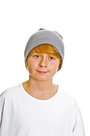 cute boy with cap isolated on white photo