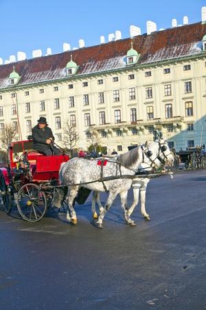 characterize: VIENA, AUSTRIA - 26 de noviembre: Controlador de la espera fiaker para los turistas en noviembre 26,2010 en Viena, Austria. Desde el siglo 17, los carruajes tirados por caballos caracterizar Viena paisaje urbano.