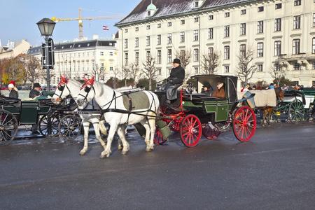 characterize: VIENA, Austria - 26 de noviembre: El controlador de la espera fiaker para los turistas de noviembre 26,2010 en Viena, Austria. Desde el siglo 17, los carruajes tirados por caballos caracterizan Viena paisaje urbano.