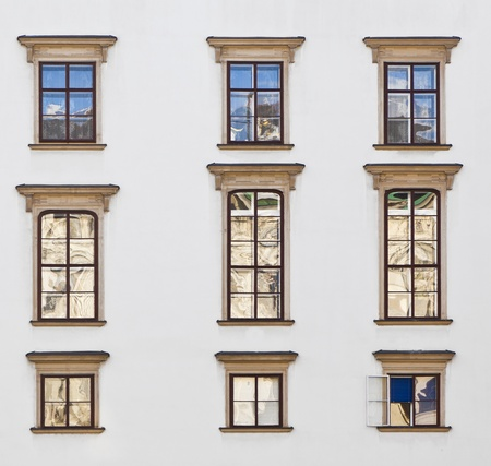 old windows at Hofburg facade in vienna photo