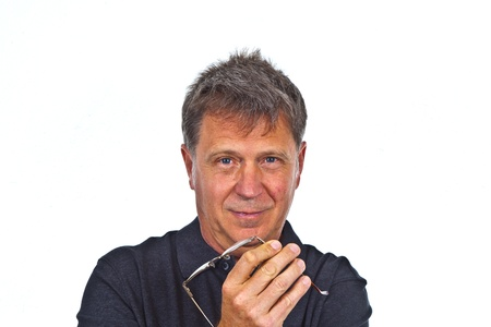 smart smiling man in studio photo
