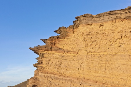golfo: volcanic stone formation with blue sky at el Golfo, Lanzarote