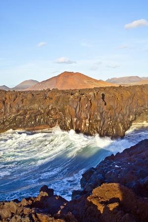 los hervideros: Los Hervideros, coastline in Lanzarote with huge waves