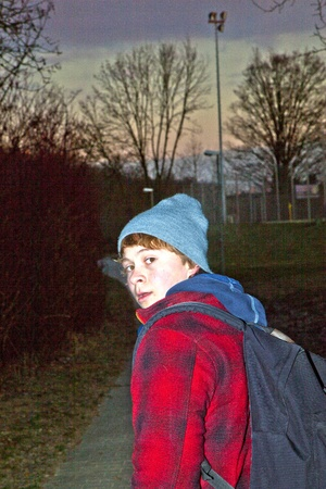 portrait of young teenage boy in the night photo