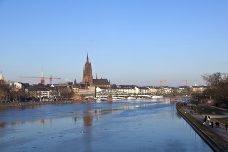 old historic bridge Eiserner Steg in Frankfurt am Main, Germany. photo