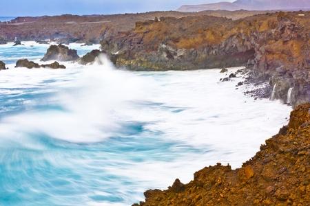 los hervideros: coast at Los Hervideros with huge waves in Lanzarote