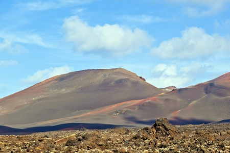 Volcanic landscape taken in Timanfaya National Park, Lanzarote, Canary Islands, Spain photo