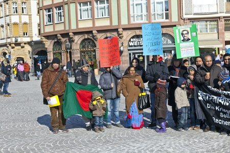 FRANKFURT, GERMANY - 11 FEBRUARY: bengali people protest against war crime in Bangladesh and for a peaceful democracy on February 11,2012 in Frankfurt, Germany. 1971 was a genocide in Bangladesh and 3 Mio people were killed.