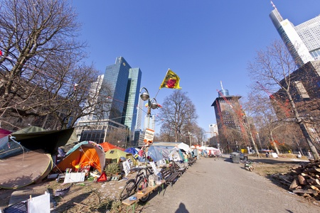 FRANKFURT - FEB 12: The protest camp of the Occupy Frankfurt movement at the European Central Bank on February 12, 2011 in Frankfurt, Germany. It is part of the global Occupy Wall Street movement. Stock Photo - 12240469