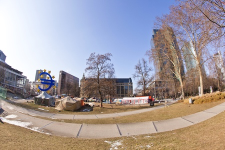 FRANKFURT - FEB 12: The protest camp of the Occupy Frankfurt movement at the European Central Bank on February 12, 2011 in Frankfurt, Germany. It is part of the global Occupy Wall Street movement.