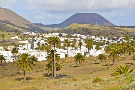 lanzarote: Landschap Lanzarote, Klein stadje Haria, Canarische Eilanden, Spanje
