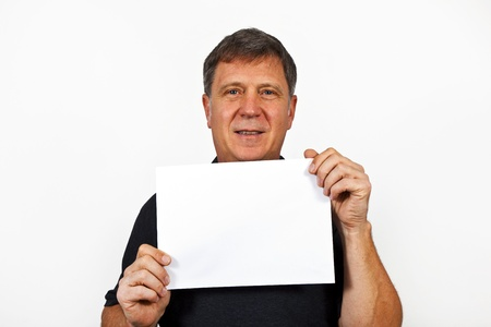 smart man holding an empty poster in his hand Stock Photo - 12598131