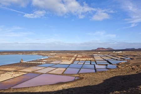 Salt refinery, Saline from Janubio, Lanzarote, Spain photo