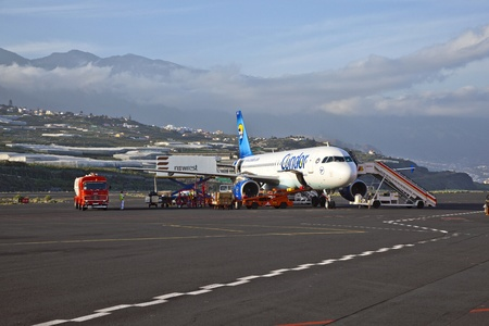 GRAN CANARIA, SPAIN - JANUARY 4: the condor flight takes a stopover at the airport on Januar 4 ,2010 in Gran Canaria, Spain. Nearly 2 Million passenger use the airport yearly. He is the 25th busiest in Europe.
